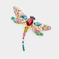 Crystal Rhinestone Pave Dragonfly Pin Brooch