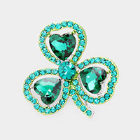 Heart Crystal Rhinestone Pave Clover Pin Brooch
