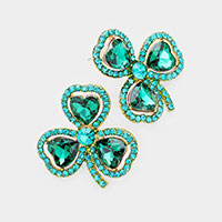 Heart Crystal Rhinestone Pave Clover Earrings