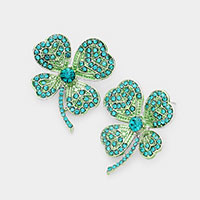 Crystal Rhinestone Pave Clover Earrings