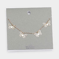 Brass Metal Butterfly Necklace