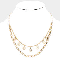 Metal Chain Quarter Coin Layered Necklace