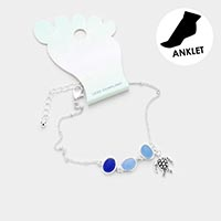 Sea Glass Turtle Anklet