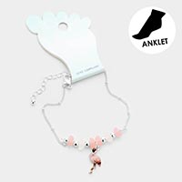 Sea Glass Bead Flamingo Anklet