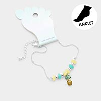 Sea Glass Bead Pineapple Anklet