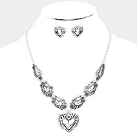 Antique Silver Heart Metal Necklace