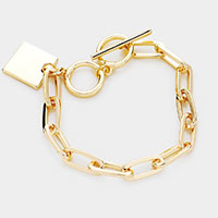 Square Metal Charm Chain Toggle Bracelet