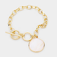 Mother of Pearl  Metal Trim Charm Chain Toggle Bracelet