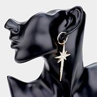 Rhinestone Pave Statement Star Drop Pin Catch Earrings