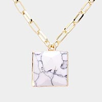 Square Semi Precious Stone Pendant Chain Necklace