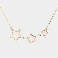 Mother of Pearl Triple Star Pendant Necklace