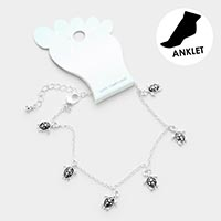 Turtle Metal Charm Dangle Anklet