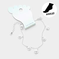 Sand Dollar Metal Charm Dangle Anklet