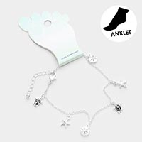 Sea Life Friends Metal Charm Dangle Anklet