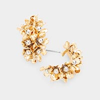Cluster Metal Bloom Flower Hoop Earrings