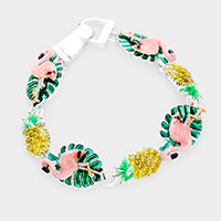 Enamel Metal Flamingo and Pineapple Magnetic Bracelet