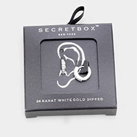 Secret Box _  24K White Dipped CZ Cubic Zirconia Huggie Hoop Earrings