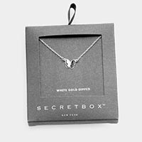 Secret Box _ 24K White Gold Dipped Butterfly Pendant Necklace