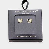 Secret Box _ 14K Gold Dipped Butterfly Stud Earrings