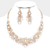 Pearl Rhinestone Floral Evening Necklace