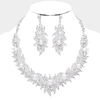 Crystal Rhinestone Floral Pearl Vine Evening Necklace