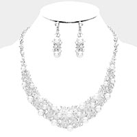Pearl Crystal Rhinestone Vine Evening Necklace