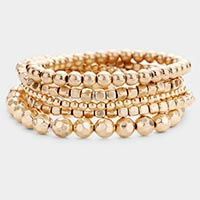 5PCS -Multi Metal Bead Stretch Layered Bracelets