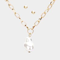Fresh Water Pearl Pendant Link Chain Necklace