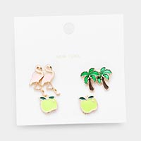 3Pairs - Mixed Flamingo Palm Tree Apple Stud Earrings