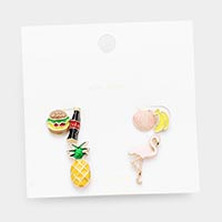 3Pairs - Mixed Hamburger banana Pineapple Flamingo Stud Earrings