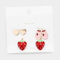 3Pairs - Mixed Strawberry Mlik Heart Stud Earrings