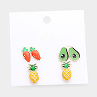 3Pairs - Mixed Enamel Carrot Avocado Pineapple Stud Earrings