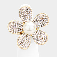 Pearl Rhinestone Pave Flower Stretch Ring