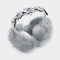 Teardrop Marquise Crystal Fluffy Plush Fur Earmuff