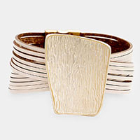 Textured Irregular Rectangle Faux Leather Magnetic Bracelet