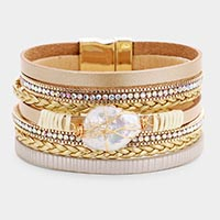 Freshwater Pearl Accented Faux Leather Magnetic Bracelet