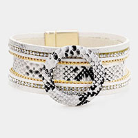 Snake Pattern Open Circle Faux Leather Magnetic Bracelet