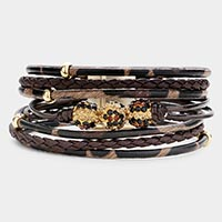 Shamballa Ball Tiger Pattern Faux Leather Magnetic Bracelet