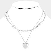 Heart Metal Pendant Layered Chain Necklace