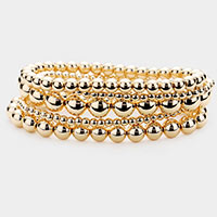 5PCS - Metal Ball Beaded Stretch Bracelets