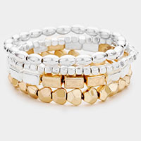 4PCS - Metal Beaded Stretch Layered Bracelets