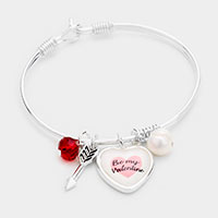 Be My Valentine Heart Charm Pearl Hook Bracelet