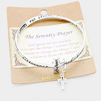 The Serenity Prayer Cross Charm Bangle Bracelet