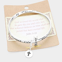 John 3:16 Cross Charm Bangle Bracelet