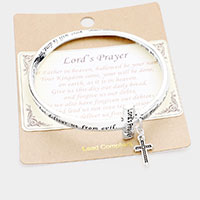The Lord's Prayer Cross Charm Bangle Bracelet