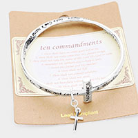 Ten Commandments Cross Charm Bangle Bracelet