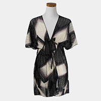 Belted Pleated Kimono Poncho