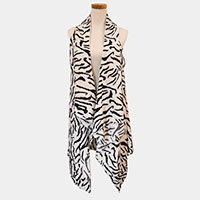 Zebra Animal Pattern Scarf Vest