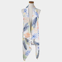Tropical Print Pattern Scarf Vest