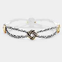 Knot Accented Antique Metal Stretch Bracelet